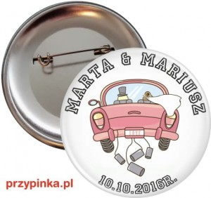 Just Married - Przypinka ślubna 56mm agrafka