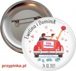 Weselna przypinka 56mm - Just Married