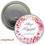 Pink Wedding - weselny magnes 56mm