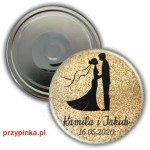 Golden Love - weselny magnes  56mm