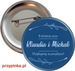 Simple and Classic - weselna przypinka 56mm