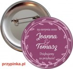 Purple and Pink Mix - przypinka weselna 56mm