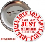 Just Married - weselna przypinka 56mm