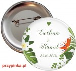 Green wedding - weselna przypinka 56 mm