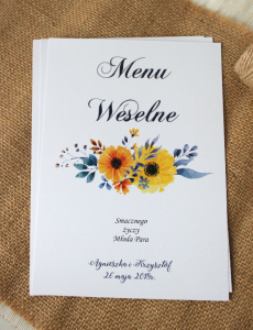 Sunflowers in blue - Menu weselne