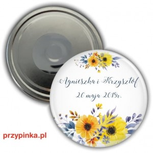 Sunflowers in blue - magnes 56 mm