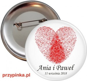 Fingerprint heart - przypinka 56mm