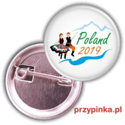 Przypinka Love Never Fails Poland 2019 - 25mm z agrafką