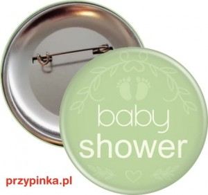 Baby Shower Eco Green - przypinka 56mm