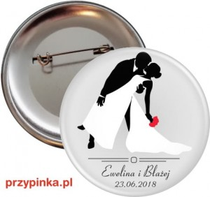 Black and White Lovers - weselna przypinka 56 mm
