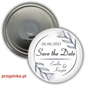 Save the Date - Black Flowers - magnes 56mm