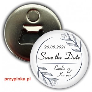 Save the Date - Black Flowers - magnes z otwieraczem 56mm
