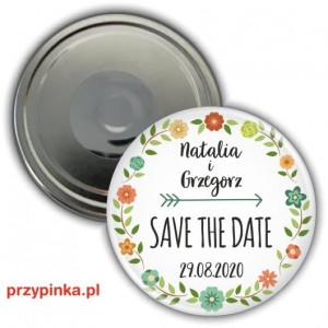 Save the Date - Polny Wianek - magnes 56mm