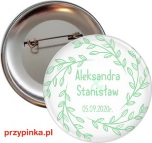 Simple Mint and White - przypinka weselna 56mm