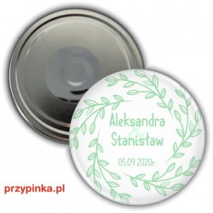 Simple Mint and White - magnes weselny 56mm