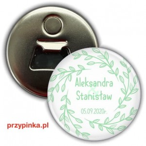 Simple Mint and White - weselny magnes z otwieraczem 56mm