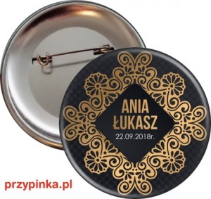 Black and Gold -  weselna przypinka 56 mm