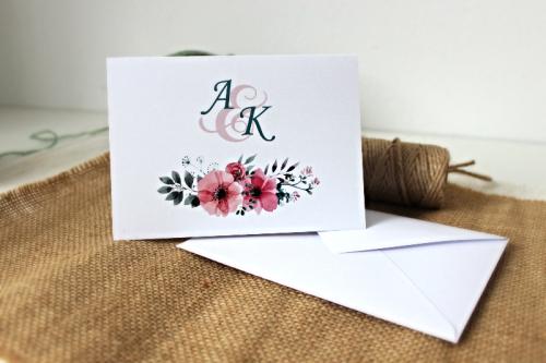 Różowe Anemony Zaproszenie ślubne Przypinkapl