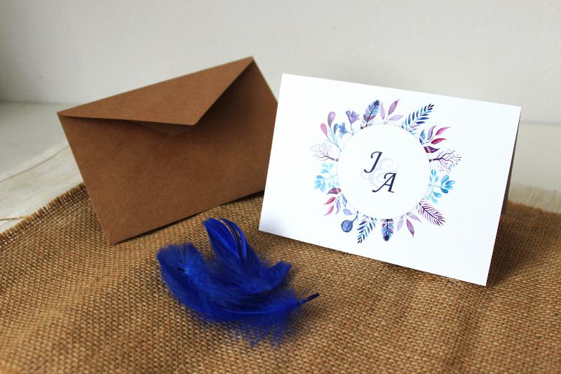 Blue Purple Zaproszenie ślubne Przypinkapl