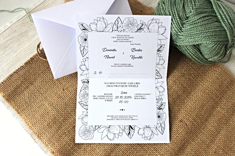 Floral Sketches Zaproszenie ślubne Przypinkapl