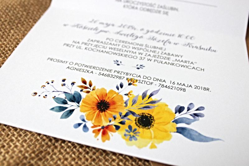 Sunflowers In Blue Zaproszenie ślubne Przypinkapl